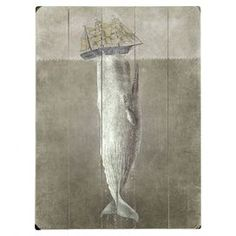 """Weathered wood wall art with a white whale and ship design. Product: Wall artConstruction Material: Wood Features: Ready to hangGreat addition to any room Dimensions: 16"""" H x 12"""" WNote: Hanging hardware includedCleaning and Care: Wipe with damp cloth"""