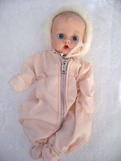 1959 Ginnette DOLL #2252 In Pink Pram Suit with Furry Hood Painted Eye