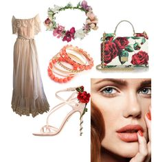 a girl walked up for a rose by liona-wijaya on Polyvore featuring polyvore fashion style Victor Costa Dolce&Gabbana Topshop