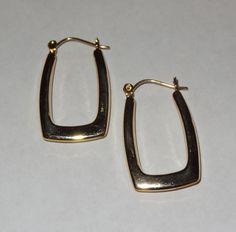14k gold rectangle hoop earrings