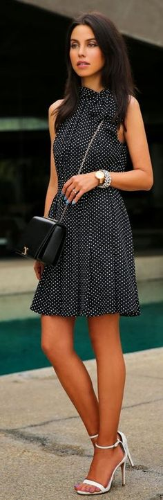 Express Black Dotted Dress by Vivaluxury  Love the dress ..... Do NOT love (or even like) the shoes!
