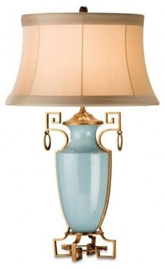 Table Lamp Ideas. Blue, Ivory with Gold Accents. Greek Key Details. Southern Delphine Lamp