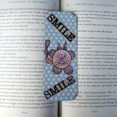 Smile Kitty Bookmark, Inspirational Bookmark, Motivational Bookmark, Affirmation Bookmark, Bookmarks, Stocking Stuffers by DivinitysDivineTouch on Etsy