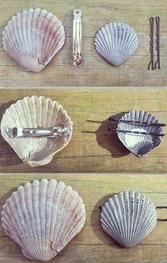 Hot glue bobby pins and hair clips to the back of shells for easy DIY mermaid ha. Hot glue bobby pins and hair clips to the back of shells for easy DIY mermaid hair accessories! Seashell Crafts, Beach Crafts, Diy And Crafts, Arts And Crafts, Seashell Projects, Crafts Cheap, Simple Crafts, Mermaid Diy, Mermaid Makeup