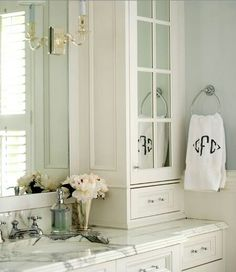 Pretty use of mirror in cabinet...don't think we will have space for and inset cabinet on the counters.