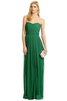 Emerald maxi bridesmaid dress option A Badgley mischka on renttherunway.com