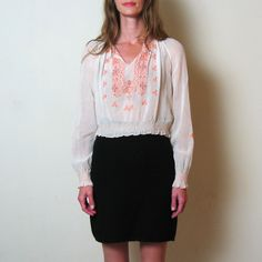 1950s HUNGARIAN EMBROIDERED blouse xs small by TheLovedOne