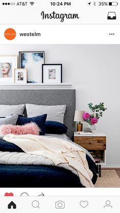 gray and navy bedroom