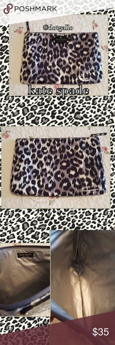 "💖MOM💖kate spade pouch Fashionable animal print🐆🐆pouch, great for anything, makeup, coupons, even a small tablet Vinyle interior and exterior, so it is waterproof! Zippered top closure 10.5"" x 7.5"" Great gift! 🎁 kate spade Bags Cosmetic Bags & Cases"