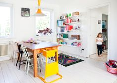Open space, bright colour with a contemporary feel
