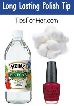 your nail polish last considerably longer by wiping your nails with white vinegar before applying polish.Make your nail polish last considerably longer by wiping your nails with white vinegar before applying polish. Nail Art Hacks, Nail Polish Hacks, Nail Art Diy, Nail Polish Colors, Nail Tips, Best Nail Polish, Remove Nail Polish, Toe Nail Polish, Beauty Tips