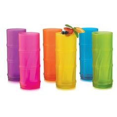 6 pc Set Includes: 6- Colored Bamboo Shaped Cooler Glasses. Made in USA.