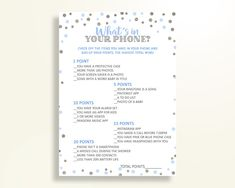 What's In Your Phone Baby Shower What's In Your Phone Blue And Silver Baby Shower What's In Your Phone Blue Silver Baby Shower Blue OV5UG - Digital Product #babyshowergifts #babyshowerideas