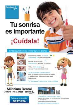 Tu sonrisa es importante ¡Cuídala!  Campaña de Sanitas Milenium Dental Tres Cantos para niños en colegios.