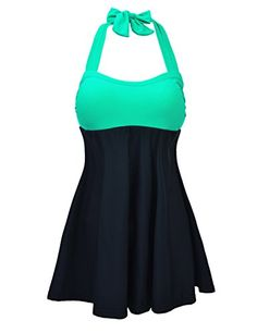0066fc1c19a76 JOYMODE Women s Halter Neck High Waisted Swimsuits One Piece Skirtini Cover  Up Swimdress Swimsuit Cover Ups