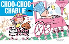 Good 'n' Plenty's Choo-Choo Charlie Game from my new Print feature: Elephant Love, July 4th Bang, and Baby Boom Pop Culture Graphics...
