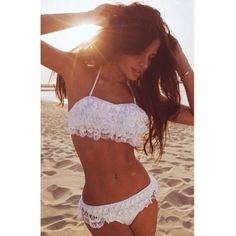 USD10.49Cheap Sexy Halter Neck Solid White Lace Two-piece Bikini Swimwear