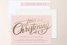 Heartfelt Foil-Pressed Baptism and Christening Invitations