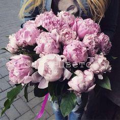 Букет из розовых Пионов с зеленью
