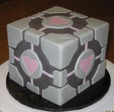 Geeking out over this cake (the companion cube, from Portal 2)