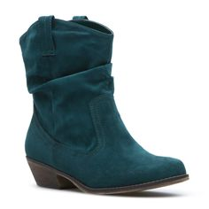 """Agreeable"" Western-inspired, faux-suede boot with faux-wood heel in Hunter Green. Details: lightly padded insole, lightly treaded outsole, 1.5"" heel."
