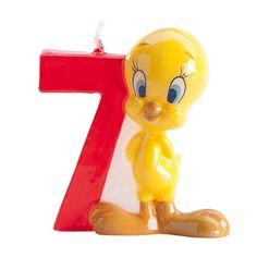 Vela para tarta de Piolín y el número siete