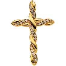 This is an elegant braided cross pendant forged of 14 karat yellow gold. This pendant exhibits a braided cross type. It has a diamond gemstone. Snap up this elegant braided cross pendant now and have faith in God. Diamond Cross, Gold Cross, Rough Diamond, Diamond Gemstone, Pendant Jewelry, Jewelry Necklaces, Pendant Necklace, Cross Necklaces, Religious Jewelry