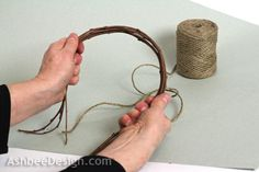 """Ashbee Design: Twig Heart Tutorial 3. Test your branches for bendability. You want them to be able to bend like this.... If they snap find a different variety. Take six in one hand. Arrange them so their tips are all within 3"""" of each other. You don't want them lined up but you also don't want them too staggered. Be sure the tips can bend down to form the heart shape. If they can't, rearrange the sticks."""