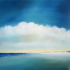 "Original Oil Painting ""Beach Horizon"" 20x20 Signed by Artist 