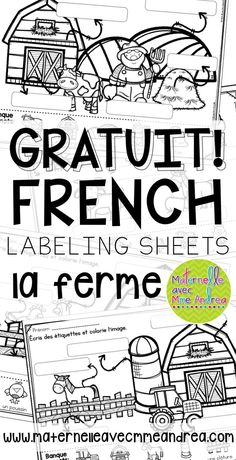 FREE French Farm labelling sheets for your writing centre! French Teaching Resources, Teaching French, Learning Resources, Writing Center Kindergarten, In Kindergarten, Writing Centers, How To Speak French, Learn French, Learn English