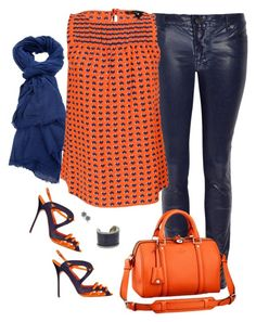 """Blue and orange - Ksubi coated jeans"" by riquee ❤ liked on Polyvore featuring Faliero Sarti, Ksubi, Marc by Marc Jacobs, Manolo Blahnik, Louis Vuitton, Shameless Jewelry and Vanity Her"