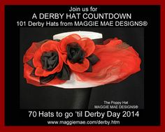 """The """"Poppy"""" Chapeau, Hat #70 in our Derby Hat Countdown! Created to celebrate all of the wonderful horses in our lives and to thank them for the many ways in which they serve and inspire us.    http://wp.me/p30hfe-160  For more Derby hats, please visit us at http://www.maggiemae.com/derby.htm"""