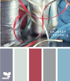 color palette: cool silver, grey, blue and red #colors #inspiration #pantone