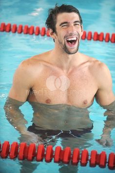 Michael Phelps laughing with victory
