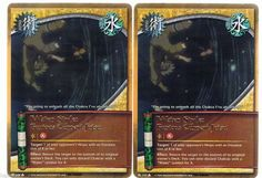2x J-332 Water Style: Furious Current Jutsu Gold Letters Rare #Naruto Cards 1st e