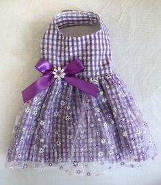 Purple Gingham Princess Dog Dress