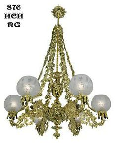 Victorian Chandelier - Neo Rococo Cornelius Grape & Leaf 6 Light Chandelier (876-HCH-RG) To say that this is a beautiful light is to understate its impact.Every casting is lost wax cast solid brass; every bowl is hand spun;every connector is hand made from solid brass. Circa 1840, recreated neo-rococo gas (now electric) chandelier attributed to Cornelius.