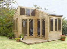 """The Byron Summerhouse is near 10' tall at it's highest ( 2.99m) and 12' 7"""" square (3.84m.) including the Patio deck. Available to purchase as self-assemble or they will assemble it for you on-site."""