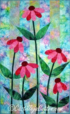 Fusible applique wall hanging for Spring or Summer. Ribbon Cone Flowers Quilt Pattern CJC-4163 by CJC - Castilleja Cotton - Diane McGregor.  Check out our applique quilt patterns. https://www.pinterest.com/quiltwomancom/applique-quilt-patterns/  Subscribe to our mailing list for updates on new patterns and sales! https://visitor.constantcontact.com/manage/optin?v=001nInsvTYVCuDEFMt6NnF5AZm5OdNtzij2ua4k-qgFIzX6B22GyGeBWSrTG2Of_W0RDlB-QaVpNqTrhbz9y39jbLrD2dlEPkoHf_P3E6E5nBNVQNAEUs-xVA%3D%3D