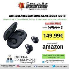 Auriculares Samsung Gear IconX (2018)  Baja de 179.90  a 149.99   Bluetooth v4.2. Capacidad de 3.4 Gb Acelerómetro sensor de proximidad Comprar en Amazon: http://amzn.to/2FzTY68  #Samsung #GearIconX #Auriculares #Bluetooth #DiadelPadre