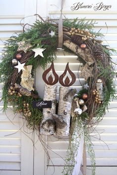 "Christmas decoration - :::: door wreath ""Advent candles Artificial fir tree as Christmas decoration? A synthetic Christmas Tree or a real one? Lovers of art Diy Christmas Decorations For Home, Holiday Wreaths, Christmas Crafts, Christmas Mood, Rustic Christmas, Christmas Candles, Advent Candles, Christmas Drawing, Door Wreaths"