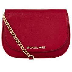 MICHAEL Michael Kors Bedford Small Cross Body Bag ($235) ❤ liked on Polyvore featuring bags, handbags, shoulder bags, red handbags, crossbody handbags, crossbody purse, red crossbody and chain strap crossbody purse