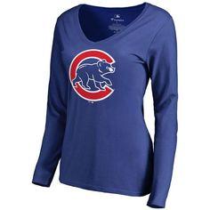 Chicago Cubs Women s Team Color Primary Logo 2 Slim Fit V-Neck Long Sleeve  T-Shirt - Royal 6f67dba28