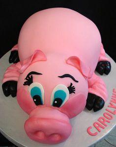Pink pig cake