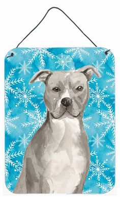 Staffordshire Bull Terrier Winter Wall or Door Hanging Prints BB9430DS1216