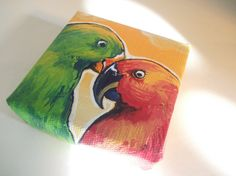 Love Birds Teeny Tiny Original Nature Painting by TheWhimsicalFrog, $18.00