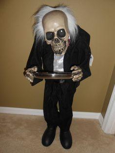 Halloween 3 Foot Standing Bobble Head Skeleton Butler LED Eyes light up and talks