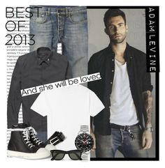 """MEN Street Style: Adam Levine - Best of 2013"" by karineminzonwilson ❤ liked on Polyvore featuring Oris, ADAM, Yves Saint Laurent, Sunspel, Loro Piana, Rick Owens, Tag Heuer, Ray-Ban, women's clothing and women's fashion"