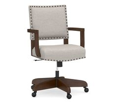 Distinguished by straight lines and simple details, our Manchester swivel style chair allows you to navigate your workspace with ease. Upholstered Desk Chair, Swivel Chair, Free Interior Design, Interior Design Services, Bronze Nails, Plastic Adirondack Chairs, Office Chair Without Wheels, High Back Chairs, Desk With Drawers