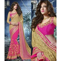 Pink and Beige Georgette Designer #Saree With Blouse